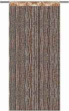 Fadenvorhang mit Stangendurchzug, Gardine in Lurex-Optik, eleganter und stilvoller Dekoartikel in vielen Farben und Größen (gold - gelbgold / 90x200 cm)