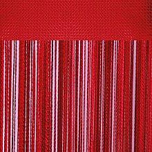 Fadenvorhang mit Stangendurchzug, individuell kürzbare Gardine, moderner und eleganter Dekorationsartikel in vielen Farben und Ausführungen (B140xL250 cm/rot - kirschrot)