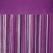 Fadenvorhang mit Stangendurchzug, individuell kürzbare Gardine, moderner und eleganter Dekorationsartikel in vielen Farben und Ausführungen (B90xL250 cm/lila - violett)