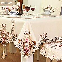 FADFAY Heimtextilien, europäischen Rustikal Floral Tischdecke, Modern Hollow Out Tisch Schutzhülle, Designer 100% Handamade Stickerei Tischdecke, Polyester, beige, Size:150*220cm
