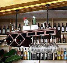 FAFZ-Champagner-Becherhalter, Weinregal Europäischen Massivholz Weinregal / Bar Kreative Weinregal, Weinglas Halter, Inverted Persönlichkeit Weinglas Halter Weinregale ( Farbe : 2 , größe : 100*28*20cm )