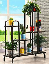 FAFZ European Style Einfache Blumentopf Regal Pflanze Stand Wohnzimmer Balkon Blumen Rack ( farbe : Schwarz )