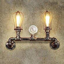 FAFZ Industrielle Retro- Außenwand-Lampe, amerikanische Balkon-Wand-Lampe, doppelte Hauptwasser-Rohr-Antike-Wand-Lampe