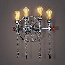 FAFZ Industrielle Windkammer-Wand-Lampe, amerikanische Art-Schlafzimmer-Wand-Lampe, nordische runde Wand-Lampe ( farbe : Silber )