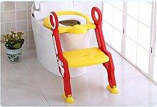 FAFZ Kinder-WC-Toilettenschüssel, Baby-Toilettenleiter, Kinder-WC-Abdeckungs-Auflage, Säuglings-Toilette (Toiletten-Leiter-Sitzring) ( Farbe : Gelb )