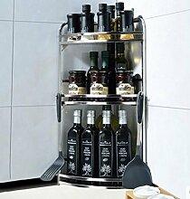 FAFZ-Küchenregale Edelstahl Eckablage Stativ Küche liefert Würzen Regal Küche Würzen Schrankwand Regale Gewürzregal ( Farbe : 4# )