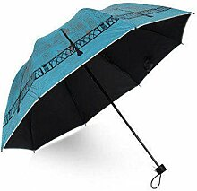 FAFZ Regenschirme, Weibliche Sonnenschirm, Regen Regenschirm Folding Dual-Purpose Regenschirm ( Farbe : Blue Glacial Lakes )