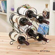 FAFZ Rotwein Rack Eisen Europäische Continental Retro Einfache Eisen Multilayer Wein Kabinett Wein Rotwein Rack Dekoration Display Zubehör Weinregale ( größe : 30*15*38cm )