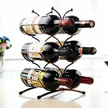 FAFZ Rotwein-Racks Eisen Retro Ornamente Mode Einfache Rotwein-Flaschen-Rack Europäische Wein-Rack Kreative Wein-Regal Weinregale