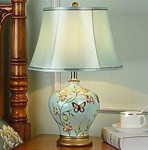 FAFZ Schlafzimmer Nachttischlampe, Europäische Lampe, einfache moderne Raum warm warm Licht Keramik Lampe Tischleuchte ( Farbe : B-Dimm-Schalter )