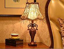 FAFZ Schlafzimmer Tischlampe, Europäische Wohnzimmer Schreibtisch Lampe, warme Spitze Tuch Schreibtisch Lampe Tischleuchte ( Farbe : Dimm-Schalter-L )
