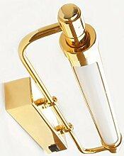 FAFZ Spiegel-vordere Lichter, LED-Spiegel-Scheinwerfer, europäischer Art amerikanische Art- und Weisebadezimmer-Lichter, Badezimmer mit einer Schalter-Wand-Lampe ( Farbe : Gold-6w53cm )