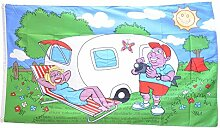 Fahne / Flagge Camping Wohnwagen + gratis Sticker,