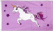 Fahne / Flagge Einhorn rosa + gratis Sticker, Flaggenfritze®