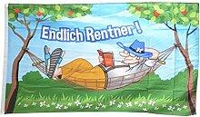 Fahne / Flagge Endlich Rentner! + gratis Sticker,