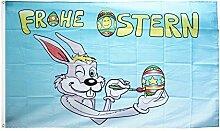 Fahne / Flagge Frohe Ostern Osterhase + gratis Sticker, Flaggenfritze®