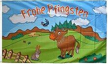 Fahne / Flagge Frohe Pfingsten mit Kuh + gratis
