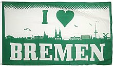 Fahne / Flagge I Love Bremen + gratis Sticker,