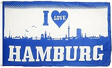 Fahne / Flagge I Love Hamburg + gratis Sticker, Flaggenfritze®
