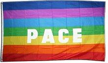 Fahne / Flagge Regenbogen mit PACE + gratis Sticker, Flaggenfritze®