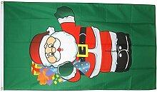 Fahne / Flagge Weihnachtsmann mit Geschenken + gratis Sticker, Flaggenfritze®