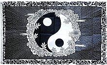 Fahne / Flagge Ying und Yang mit Rahmen + gratis Sticker, Flaggenfritze®