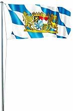 Fahnenmast 4-tlg 6,2m Flagge Flaggenmast inkl. Deutschlandflagge u. Bayernflagge