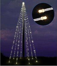 Fahnenmast Lichterkette 8x10m 400LED warmweiss Fahnenstangen Beleuchtung