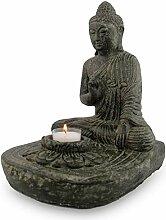 FaHome Buddha Figur Teelichthalter Skulptur Stein