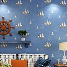 FAHOME Tapete Blau Mittelmeer Segel Kinderzimmer