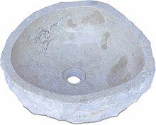 FaHome Waschbecken Marmor Hell | Handwaschbecken