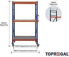 Fahrbares Lagerregal mit Gitterrost, 120cm breit, 154cm hoch, 80cm tief mit 3 Ebenen