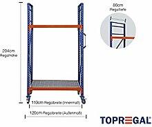 Fahrbares Lagerregal mit Gitterrost, 120cm breit, 204cm hoch, 80cm tief mit 2 Ebenen