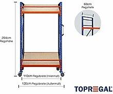 Fahrbares Lagerregal mit Schrägböden, 120cm breit, 204cm hoch, 60cm tief mit 2 Ebenen