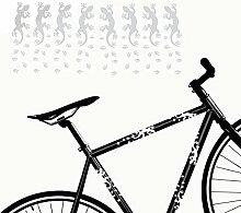 Fahrrad Aufkleber Geckos mit Fußspuren Rahmen Sticker Tiermotive Fußabdrücke | S4B0070