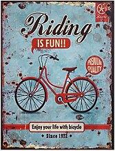 Fahrrad Retro Reklame RIDING IS FUN!! Blechschild Vintage Nostalgie Werbeschild