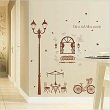 Fahrrad Straßenlaterne Dekorative Wandaufkleber