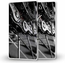 Fahrradkette - Moderne Wanduhr mit Fotodruck auf Polycarbonat   Fotouhr Bilderuhr Motivuhr Küchenuhr modern hochwertig Quarz   Variante:30 cm x 60 cm mit schwarzen Zeigern