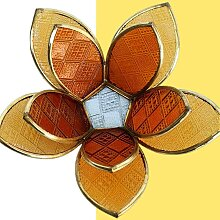 Fair & Fine   Teelichthalter Lotusblume braun Glas