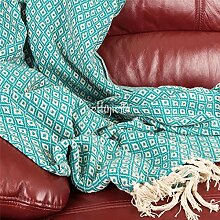 Fair Trade indischen recycelte Baumwolle gewebt Diamant Sofa Sofa Tagesdecke Fransen Decke/Überwurf 130x 180cm–SCHWARZ, Violett, Rot, Grün Sage, türkis türkis