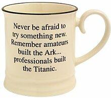 Fairmont and Main Kaffeebecher, mit englischer Aufschrift Never Be Afraid to Try, Cremefarben