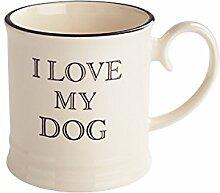 Fairmont & Main 300cc Steingut I Love My Dog Quips and Quotes Becher, cremefarben