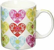 Fairmont & Main Blossom Herz China Tasse, Bone China Porzellan, mehrfarbig