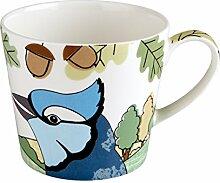 Fairmont & Main Tropische Vögel–Blue Jay Tasse, Bone China Porzellan, mehrfarbig