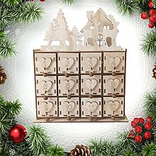 FairOnly Holz-Adventskalender Haus Dekoration DIY