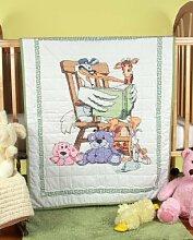 Fairway Stamped Baby Quilt Top Reading Stork