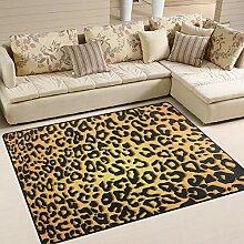 FAJRO Anmutiger Leopardenmuster Teppich für