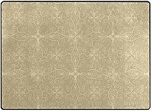FAJRO beige Blumenmuster Teppich für