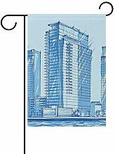 FAJRO Blaue City Building Flagge Hofdekoration