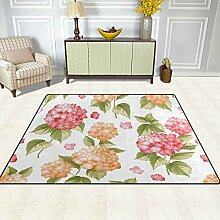 FAJRO Blumen Muster Teppich für Eingangsbereich